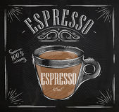 Poster espresso chalk. Poster coffee espresso in vintage style drawing with chalk on the blackboard Stock Photo