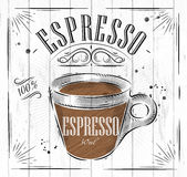 Poster espresso. Poster coffee espresso in vintage style drawing on wood background Royalty Free Stock Images