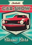 Poster for the exhibition of cars. Vintage poster for the exhibition of cars Royalty Free Stock Photos