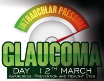 Eye like a Manometer Showing Internal Pressure in Glaucoma Day, Vector Illustration. Poster with eye like a manometer showing the rising of the intraocular Royalty Free Stock Images