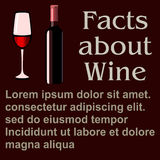 Poster facts about Wine, flat design, , template. Red, beverage, , grapes, symbol, template, restaurant, graphic, alcohol, card, wine, semisweet, illustration Stock Photos