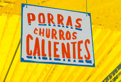 Poster in a fair announcing porras and churros.(Sw Royalty Free Stock Image