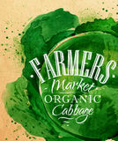 Poster farm cabbage. Poster watercolor cabbage lettering farmers market organic cabbage drawing on kraft paper stock illustration
