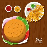 Poster fast food in kitchen table background with burger and sauces and fries. Vector illustration Stock Photos