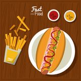 Poster fast food in kitchen table background with dish of hotdog and sauces and fries. Vector illustration Royalty Free Stock Images