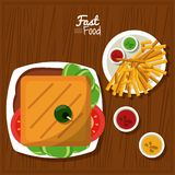 Poster fast food in kitchen table background with sandwich and sauces and fries. Vector illustration Stock Photo