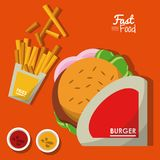 Poster fast food in orange background with burger and sauces and fries. Vector illustration Stock Image