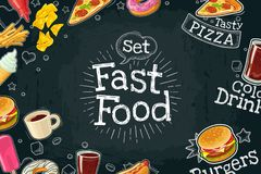 Poster fast food. Vector color flat illustration on dark background Stock Photos