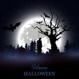 Poster feliz de Halloween Fundo com cemitério assustador, a árvore despida, as sepulturas, os bastões e a silhueta pendurada do h Foto de Stock Royalty Free