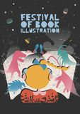 Poster of festival of book illustration concept. Modern graphic design for festival, exhibition, shop. Vector illustration. Vector flat design royalty free illustration