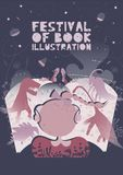 Poster of festival of book illustration concept. Modern graphic design for festival, exhibition, shop. Vector illustration. Vector flat design stock illustration