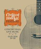 Poster for festival classical music with a guitar stock illustration