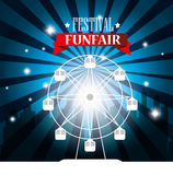 Poster festival funfair ferris wheel city background. Illustration eps 10 Stock Photos