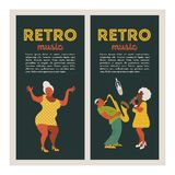 Retro party. Vector poster. Retro style illustration. Music and dance in retro style. Jazz musicians and dancers. Poster of the festival of jazz music. Musician vector illustration