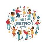 Retro party. Vector poster. Retro style illustration. Music and dance in retro style. Jazz musicians and dancers. Poster of the festival of jazz music. Retro stock illustration