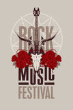 Poster for festival rock music. Banner poster for festival rock music with goat skull, roses and electric guitar Royalty Free Stock Image