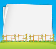 Poster and field. Blank poster with field and flower background Stock Images