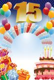 Poster for fifteenth birthday. Background with design elements and the birthday cake. The poster or invitation for fifteenth birthday or anniversary Royalty Free Stock Photos