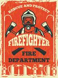 Poster for firefighter department. Design template in retro style. Fire department poster and banner with fighter. Vector illustration Royalty Free Stock Photos