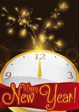 Clock, Label and Firework Display for New Year Celebration, Vector. Poster with firework display and golden clock in a midnight of New Year`s Eve Stock Photos