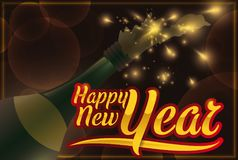Traditional New Year Celebration with Champagne and Fireworks Display, Vector Illustration Royalty Free Stock Image