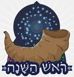 Shofar Horn over Fireworks Display for Jewish New Year, Vector Illustration. Poster with fireworks display to celebrate Rosh Hashanah -written in Hebrew- or Stock Images