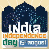 Poster with Fireworks to Celebrate Independence Day of India, Vector Illustration Royalty Free Stock Images