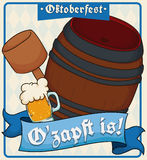 Poster with First Barrel Opening for Oktoberfest Celebration, Vector Illustration. Keg ready to be opened with the mallet to begin the Oktoberfest celebration Royalty Free Stock Images