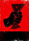 Poster with fist and money. Red and black poster with fist and money Stock Images