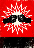 Poster with fists. Red and black poster with two fists Royalty Free Stock Photography