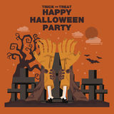 Poster, Flat banner or background for Halloween Party Night.Hand Stock Photography