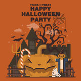 Poster, Flat banner or background for Halloween Party Night.Pump Stock Images