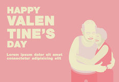 Poster, Flat banner or background for Happy Valentine's Senior Royalty Free Stock Images