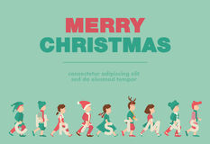 Poster, Flat banner or background for Kid's Merry christmas Party - Vector design Royalty Free Stock Image