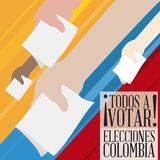 Citizens Hands Voting Massively in Colombian Elections, Vector Illustration Stock Images