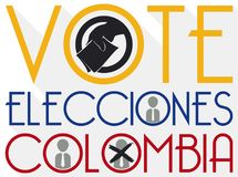 Design to Promote Suffrage with Hand Voting in Colombian Elections, Vector Illustration Royalty Free Stock Photo