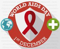 Round Button with Shield and Precepts for World AIDS Day, Vector Illustration. Poster in flat style and long shadow effect with round buttons with shield, globe Royalty Free Stock Photos