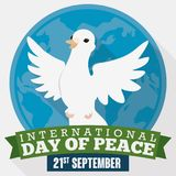 Dove over Globe and Ribbons for International Day of Peace, Vector Illustration Royalty Free Stock Photos