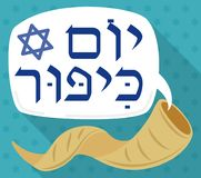 Shofar Horn and Speech Bubble Announcing Jewish Yom Kippur, Vector Illustration Royalty Free Stock Photography
