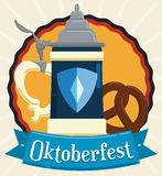 Poster in Flat Style with Oktoberfest Stein and Pretzel, Vector Illustration. Traditional stein and delicious pretzel for Oktoberfest celebration decorated with Royalty Free Stock Images