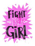 Poster with Flight Like a Girl Feminist slogan. Vector poster with Flight Like a Girl Feminist slogan felt pen lettering on pink explosion banner on background Royalty Free Stock Photos