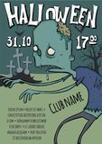 Poster or flyer for Halloween party. Zombies walking among the graves in the cemetery. Vector template illustration. Stock Photography