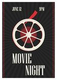 Poster or flyer template for motion picture premiere, cinema festival or professional movie show time with retro film Royalty Free Stock Photo