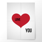 Poster of the folded paper with a red heart and a declaration of Royalty Free Stock Photo