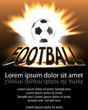 Poster football (soccer) ball in flames and lights against black Stock Photos