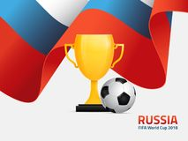 Poster for football world championship in Russia 2018. With Russian flag, golden trophy and a football ball Stock Photo