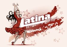 Free Poster For A Latin Dance Party. Woman In Red Dress Is Dancing Salsa .Vector Sketch Drawing Royalty Free Stock Photo - 188097945