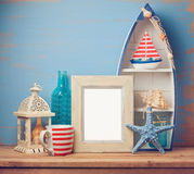 Poster frame mock up template with summer home decor Stock Image