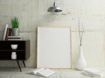 Poster Frame Mockup Interior. Blank Frame Poster poster in clean modern interior Royalty Free Stock Photo