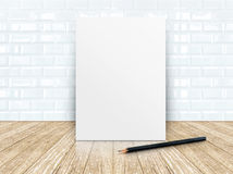 Poster frame at tiles ceramic wall and wooden floor Stock Image